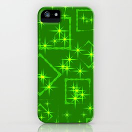 Lime diamonds and squares at the intersection with the stars on a green background. iPhone Case