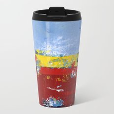 Deerfield Red Yellow Blue Abstract Art Primary Colors Metal Travel Mug