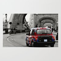 union jack Area & Throw Rugs featuring London Union Jack Taxi. by Becky Dix