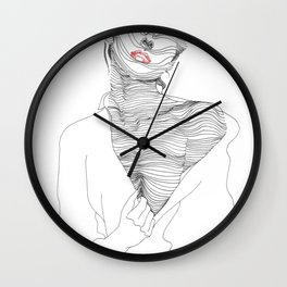 line drawing of a beautiful muse Wall Clock