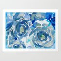 Sky Blue Painterly Floral Abstract by judypalkimas