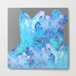 AURAL BLUE CRYSTALS ART Metal Print