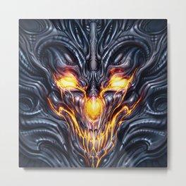 Biomechanical Demon Metal Print