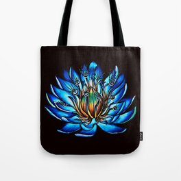 Multi Eyed Blue Water Lily Flower Tote Bag