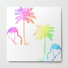 Flamingo Tropical Palm Trees Rainbow  Metal Print