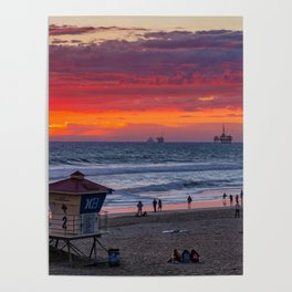 Red Clouds at Sunset - Northside Huntington Beach Poster