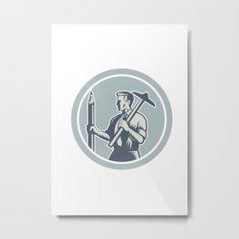 Architect Draftsman Circle Retro  Metal Print