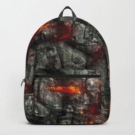 Fiery lava glowing through dark melting stone Backpack
