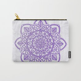 Purple Mandala on White Marble Carry-All Pouch