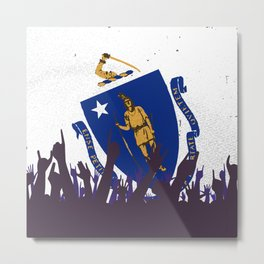 Massachusetts State Flag with Audience Metal Print
