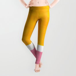 Pastel Yellow Pink Rothko Minimalist Mid Century Abstract Color Field Squares Leggings