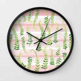 fresh green on gentle pink Wall Clock