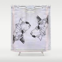 fat Shower Curtains featuring fat cat by vasodelirium