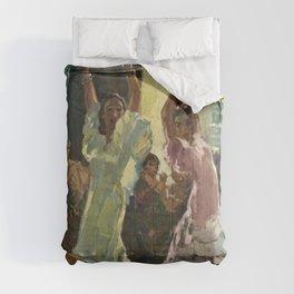 'Scène de Flamenco à Seville' by Jose Herrerilla Cruz Comforters