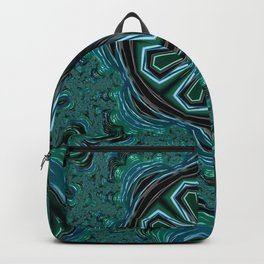 Blue and Turquoise Fractal Kaleidoscope Backpack