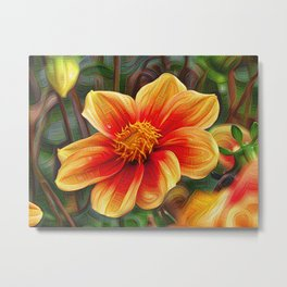 DeepDream Flowers, orange Blossom, DeepDream style Metal Print