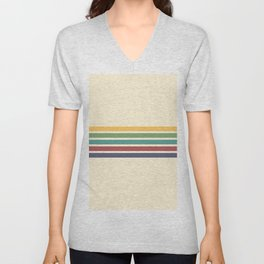 Abstract Minimal Retro Stripes 70s Style - Yoshimitsu Unisex V-Neck