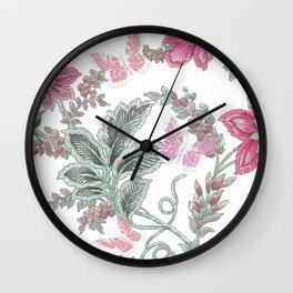 butterfly field red Wall Clock