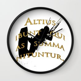 They Will Rise Highest Who Strive High Latin Quote Wall Clock