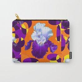 #2Colorful Modern Purple White Iris Orange Yellow Black Design Carry-All Pouch