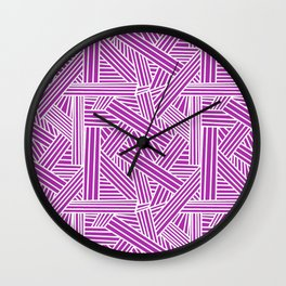 Sketchy Abstract (White & Purple Pattern) Wall Clock