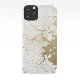 Boston White and Gold Map iPhone Case