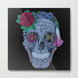 Lady Skull ready to party Metal Print