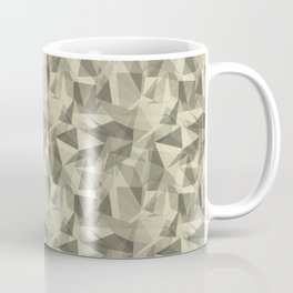 Abstract Geometrical Triangle Patterns 3 Natural Olive Green - Martinique Dawn - Asian Silk Coffee Mug