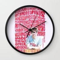 arctic monkeys Wall Clocks featuring Bigger Boys and Stolen Sweethearts - Arctic Monkeys by Frances May K