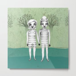 gymnast couple in the forest Metal Print