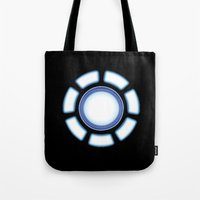 iron man Tote Bags featuring IRON MAN by eARTh