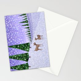 deer in the winter woods Stationery Cards