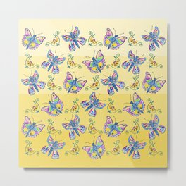 Butterflies and Flowers Metal Print