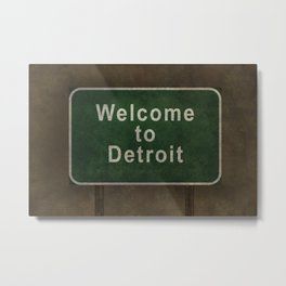 Welcome to Detroit highway road side sign Metal Print