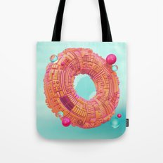 Space Donut City // 3D ABSTRACT Tote Bag