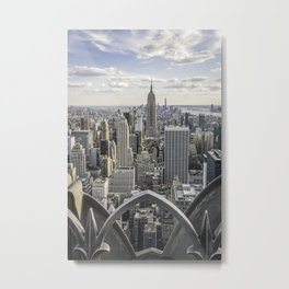 Empire State and Manhattan city skyline. View from Rockefeller Center Metal Print