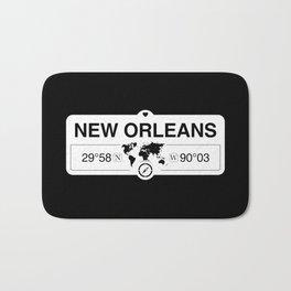 New OrleansLouisiana Map GPS Coordinates Artwork Bath Mat
