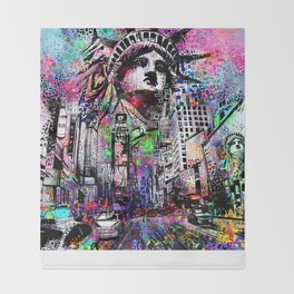 new york city urban collage Throw Blanket