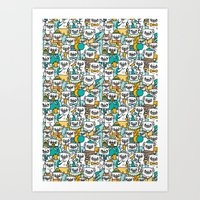 pug Art Prints featuring Pug pattern by gemma correll