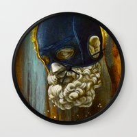 "hercules Wall Clocks featuring ""Masked Hercules"" by Bryan Keith Lanier"