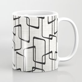 Black Retro Rounded Rectangles Geometric Pattern Coffee Mug