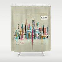sydney Shower Curtains featuring Sydney skyline  by bri.buckley