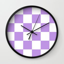 Large Checkered - White and Light Violet Wall Clock