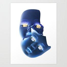 Freaky Halloween Broken Doll Zombie Blue Faces Art Print
