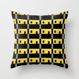 Row House Pattern Yellow Throw Pillow