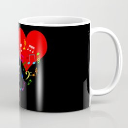 The Singing Heart. Color On Black. Simple And Chic Conceptual Design Coffee Mug