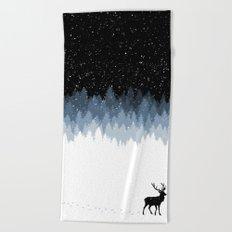 Winter Night Beach Towel