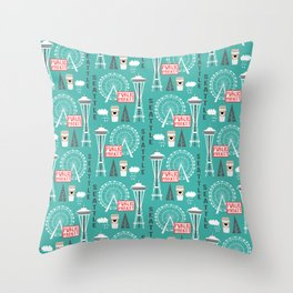 Seattle travel art cute decor for nursery kids room pattern girls or boys Throw Pillow