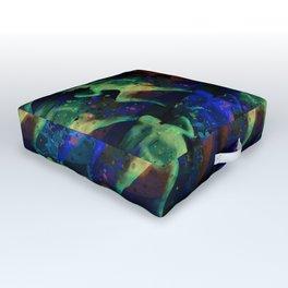 Watercolor women runner pattern on dark background Outdoor Floor Cushion