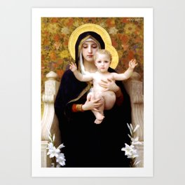 """William-Adolphe Bouguereau """"The Madonna of the Lilies"""" Art Print"""